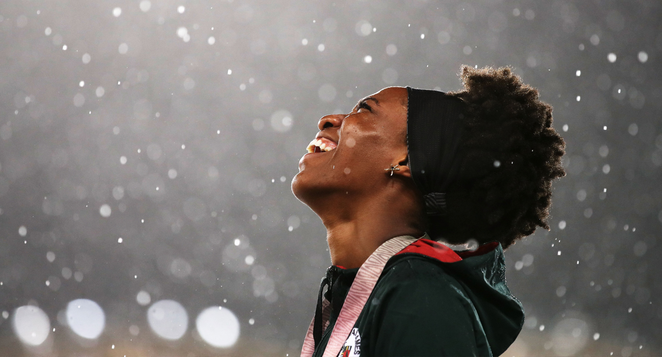 Bronze medalist Thea Lafond of Dominica looks on during the medal ceremony for the Women's Triple Jump