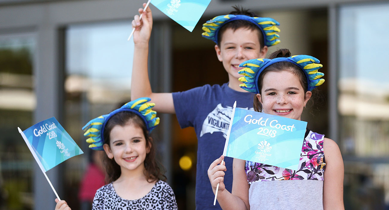 Kids wear Borobi ears outside the Netball