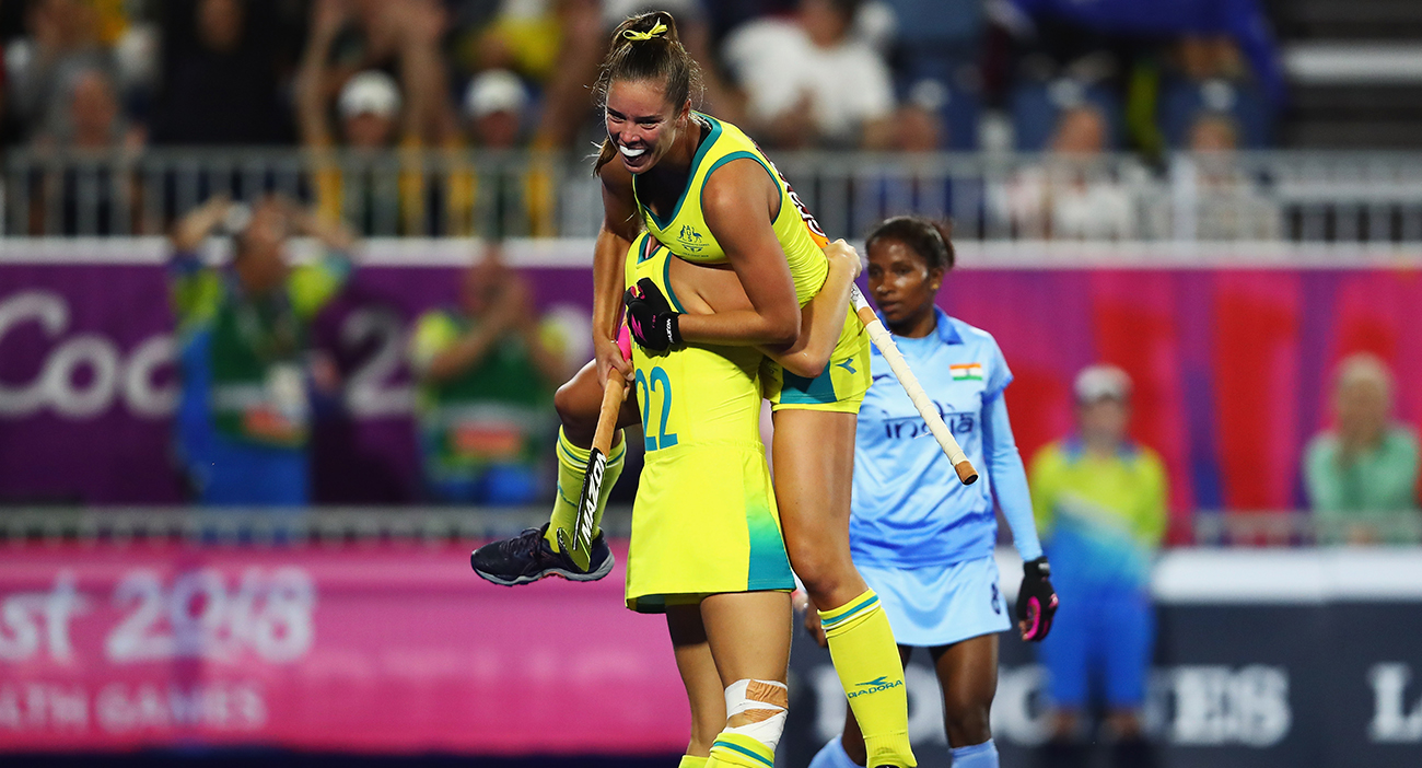 Grace Stewart celebrates her goal for Australia against India in the hockey semifinals.