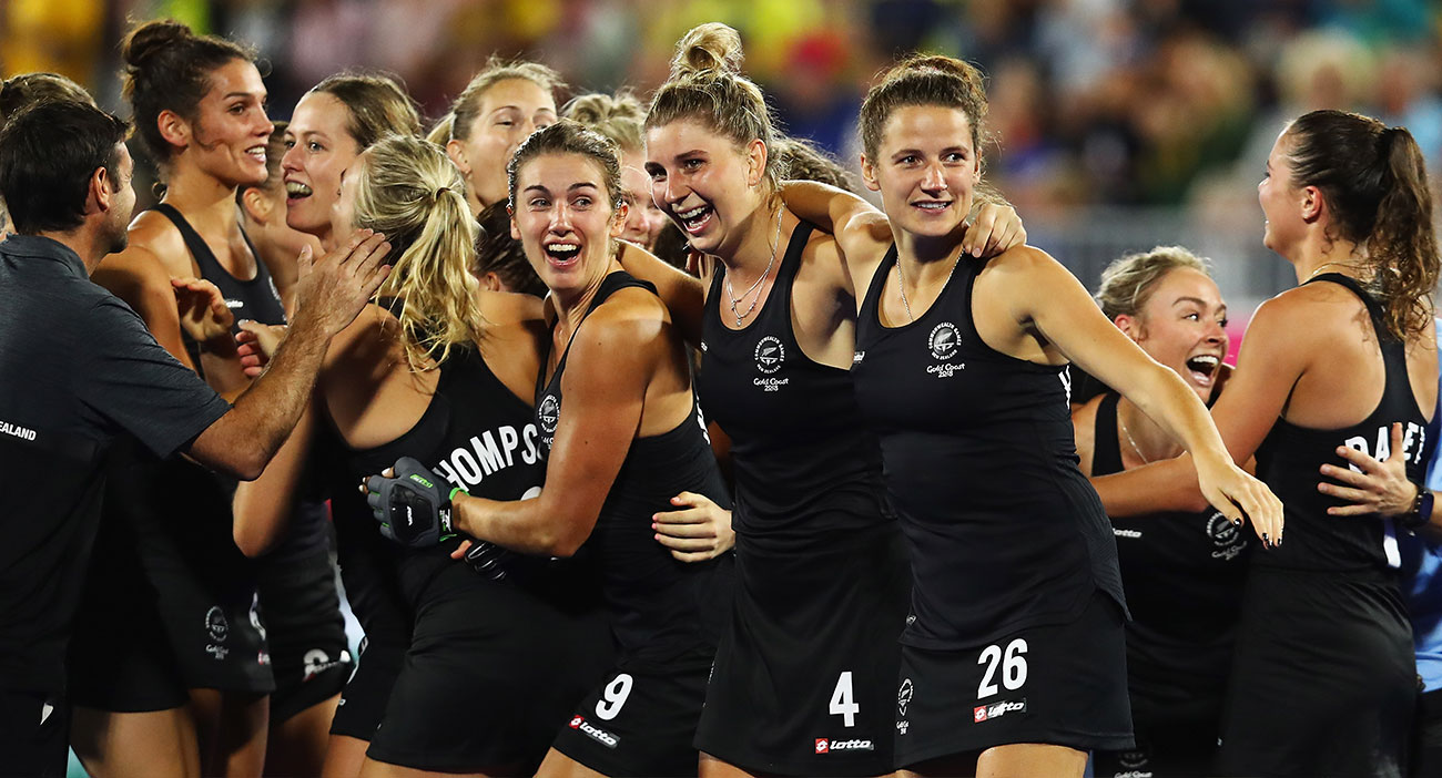 The New Zealand women's hockey team celebrate their win over England in the semifinals.