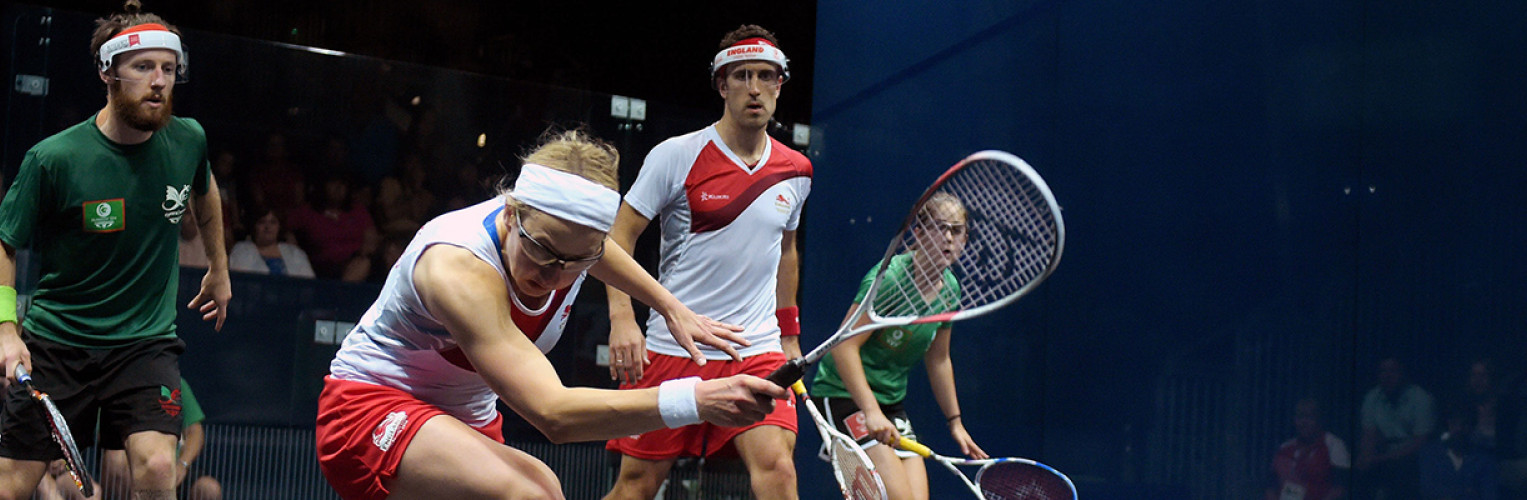 Tesni Evans watches on during the doubles competition at Glasgow 2014 Commonwealth Games.
