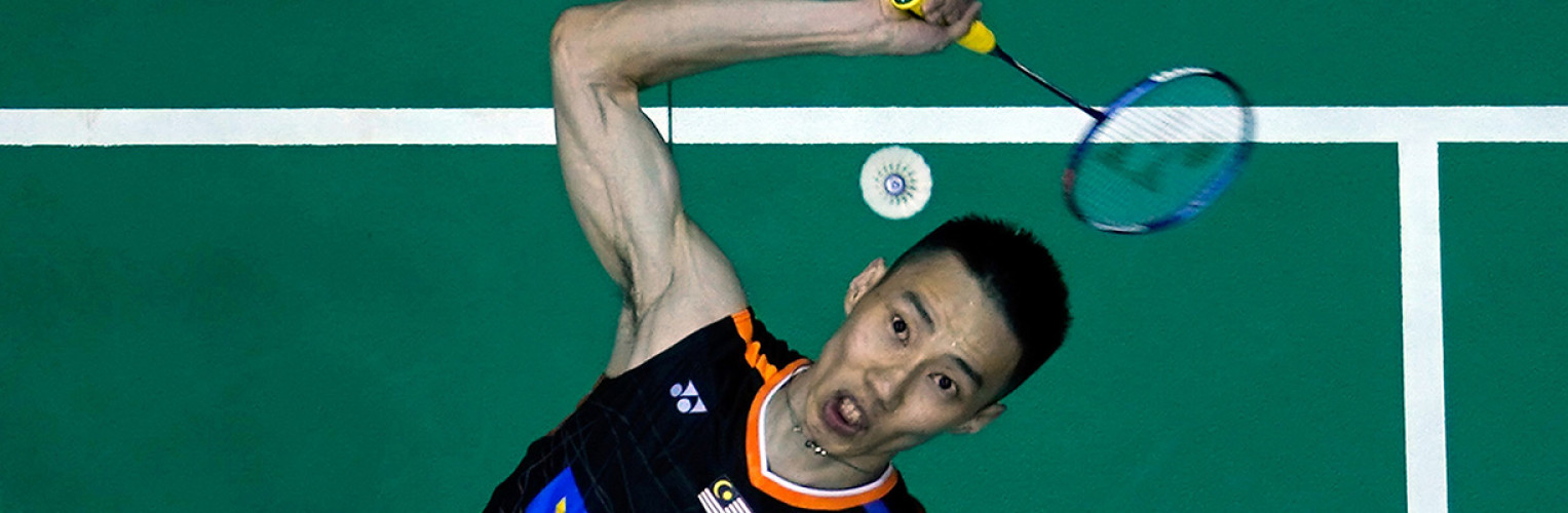 Lee Chong Wei of Malaysia prepares to smash during the Men Singles round one match of the Perodua Malaysia Masters 2018