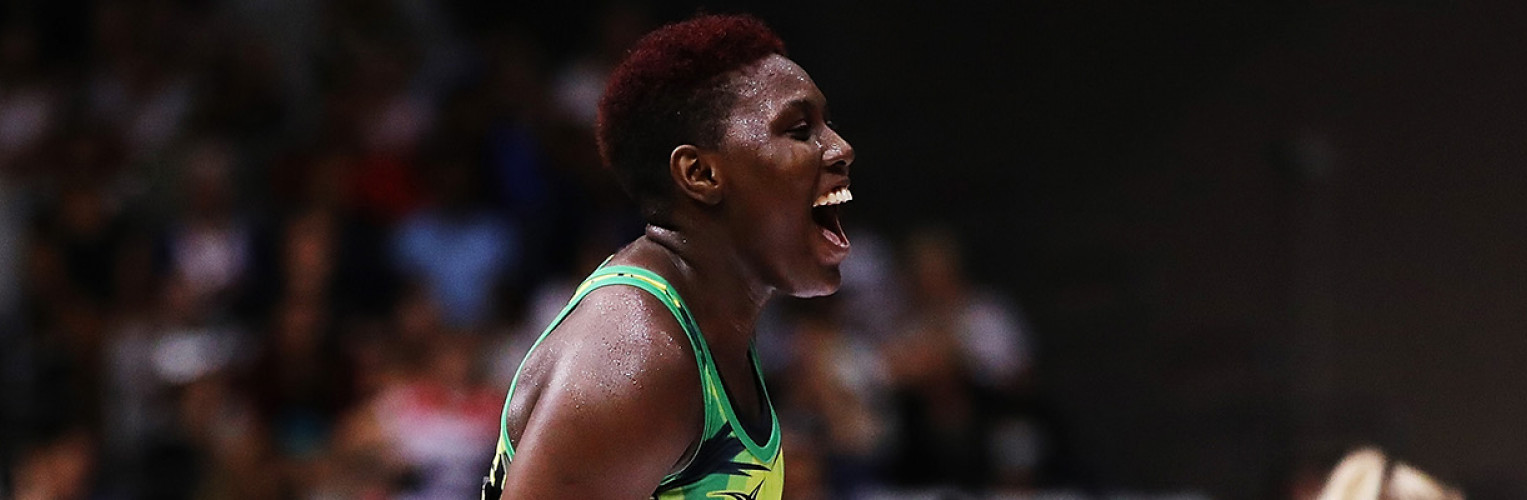 Stacian Facey of Jamaica celebrates after winning the Taini Jamison Trophy match between New Zealand and Jamaica at North Shore Events Centre on March 24, 2018 in Auckland.