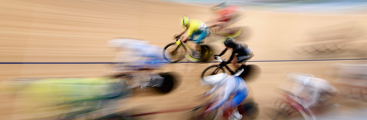 A blur of cyclist go past the camera during GC2018.