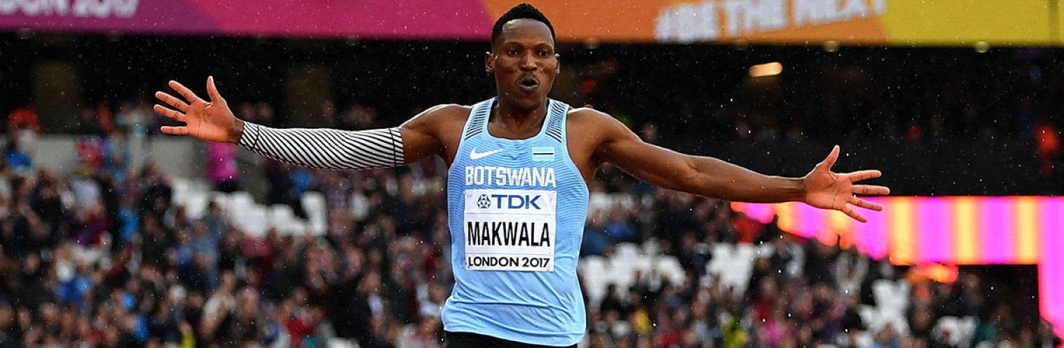 Isaac Makwala celebrates during a race.