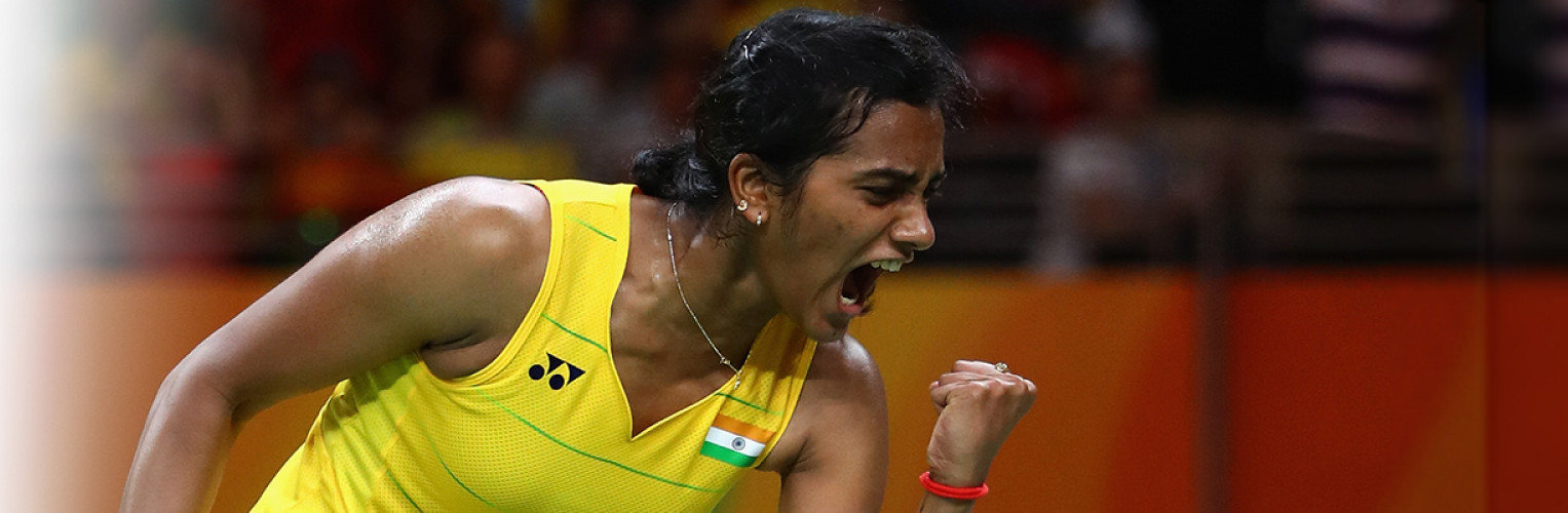 PV Sindhu of India celebrates taking the first set against Carolina Marin of Spain during the Women's Singles Gold Medal Match on Day 14 of the Rio 2016 Olympic Games