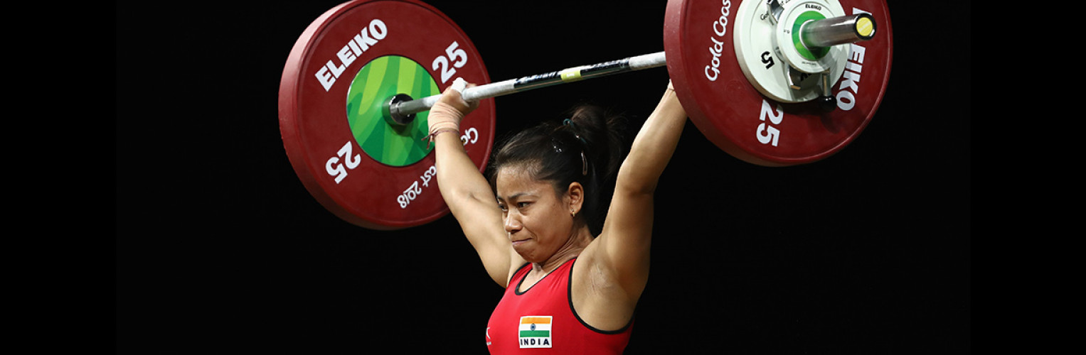 India's Sanjita Chanu Khumukcham claimed gold in the women's 53kg weightlifting competition.