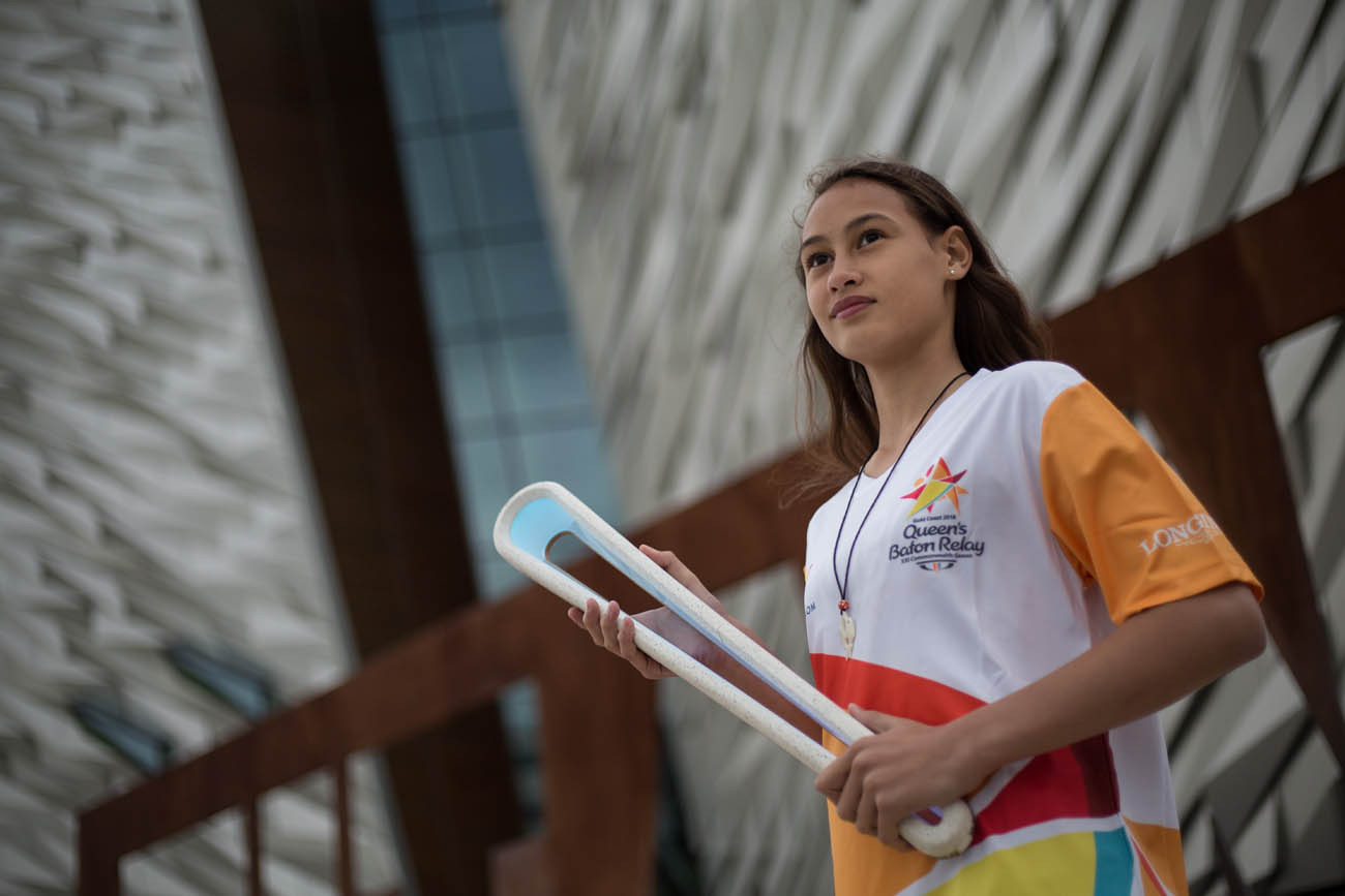 The Queen's Baton, carried by Dakota Crawford (from New Zealand) at the Titanic Belfast museum, in Belfast, in Northern Ireland, on 28 August 2017.