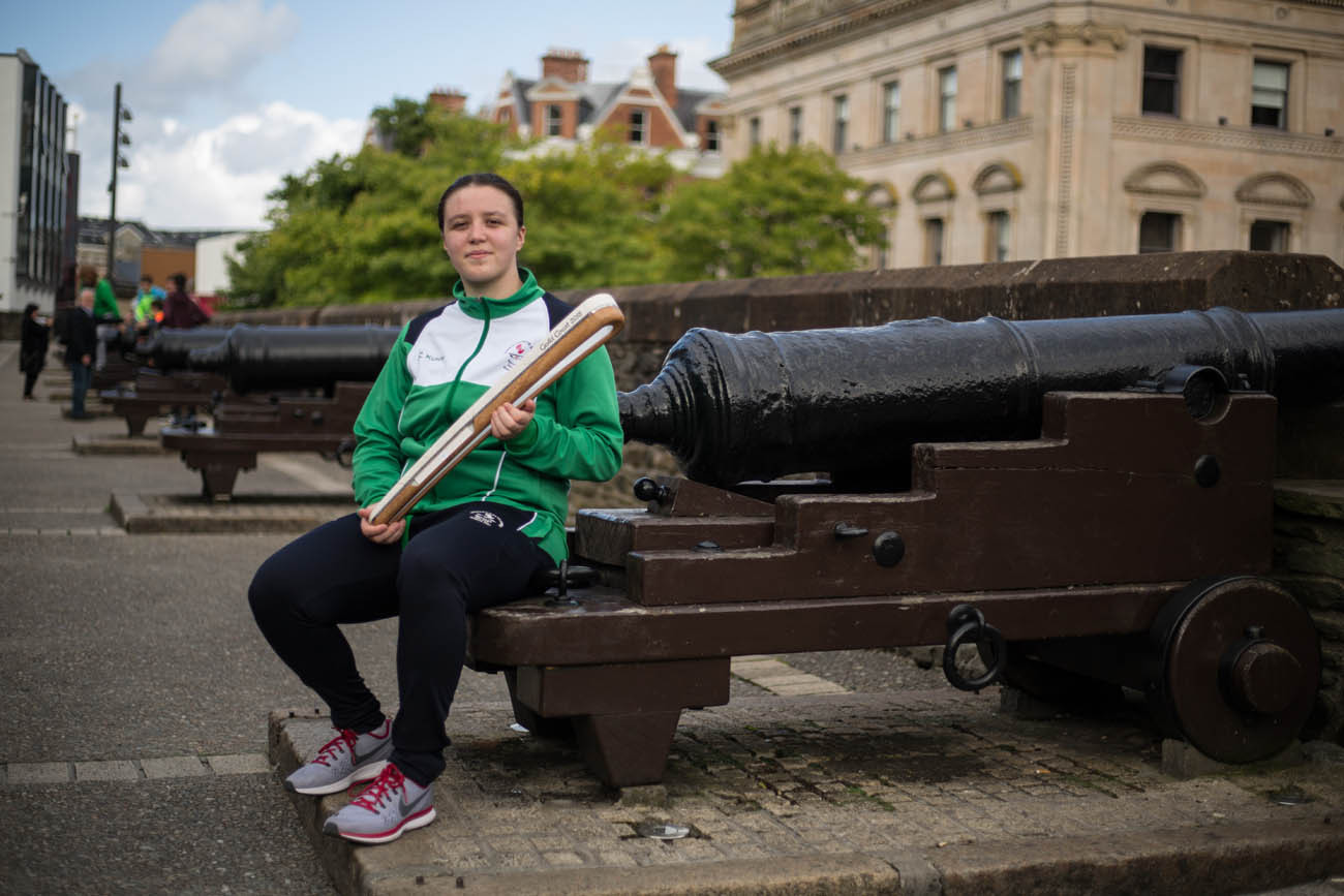 The Queen's Baton, carried by Kirsty Strouts McCallion (silver medal CYG Bahamas 2017, judo) on the City walls, in Derry/Londonderry, in Northern Ireland, on 29 August 2017.