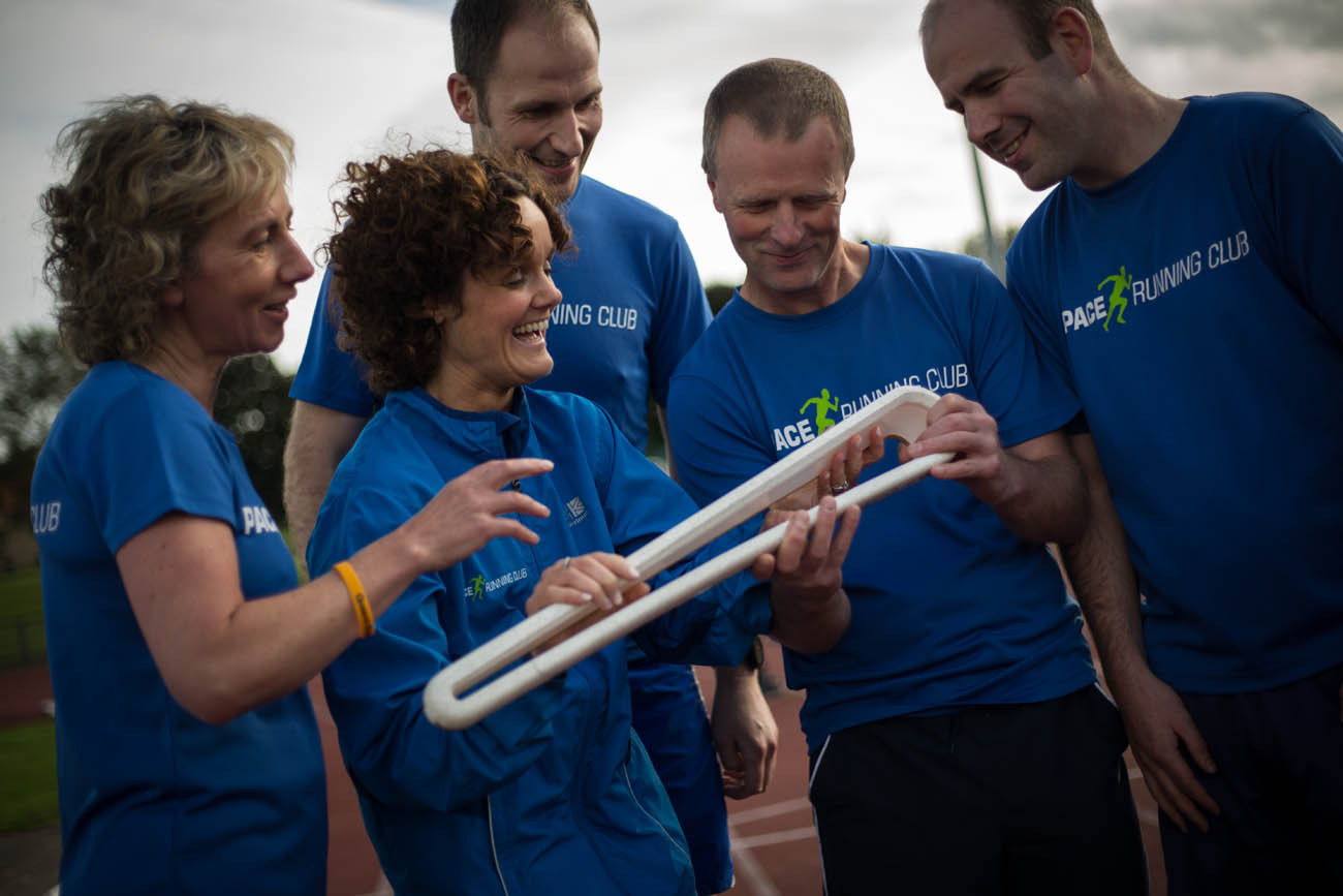 The Queen's Baton, carried by members of the Pace Running Club, at the Antrim Forum, in Antrim, in Northern Ireland, on 29 August 2017.