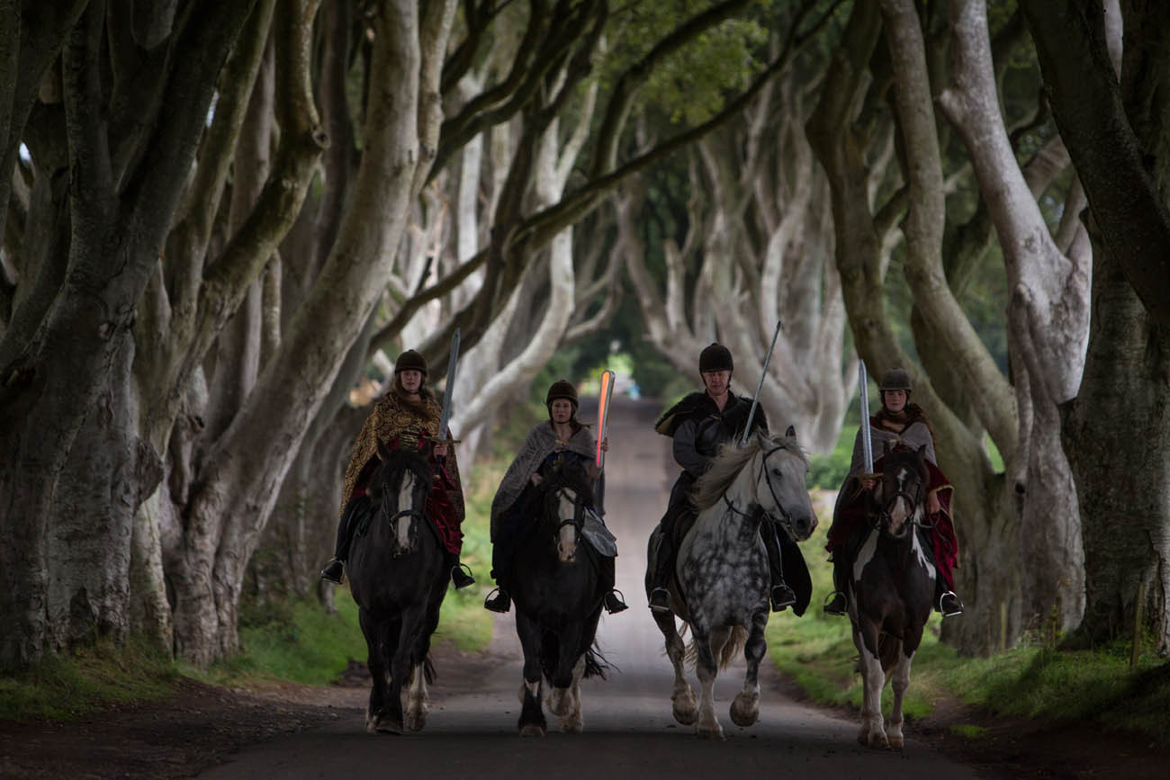 The Queen's Baton photographed at the Dark Hedges, known as the 'King's Road' location in the HBO's TV series Game of Thrones, in Stranocum, in Northern Ireland, on 29 August 2017.