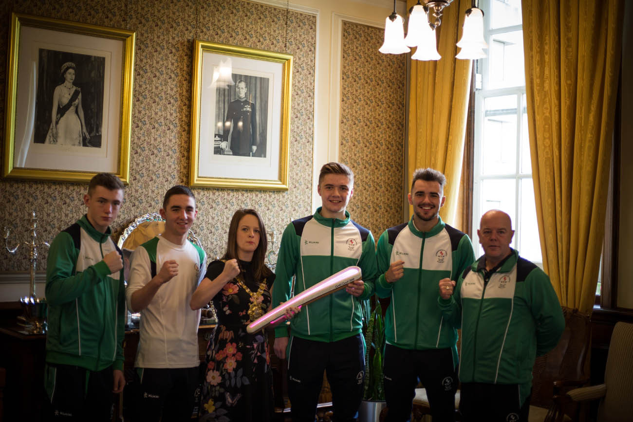 The Queen's Baton was received by Lord Mayor Councillor Nuala McAllister, accompanied by boxers from the Team Northern Ireland at Bahamas Youth Games 2017, at Belfast City Hall, Belfast, in Northern Ireland, on 30 August 2017.