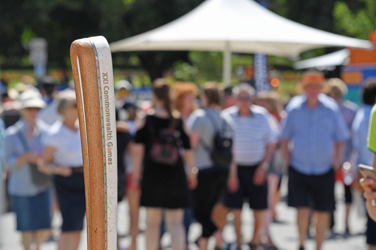 The Queen's Baton on display at the Taste of Tasmania