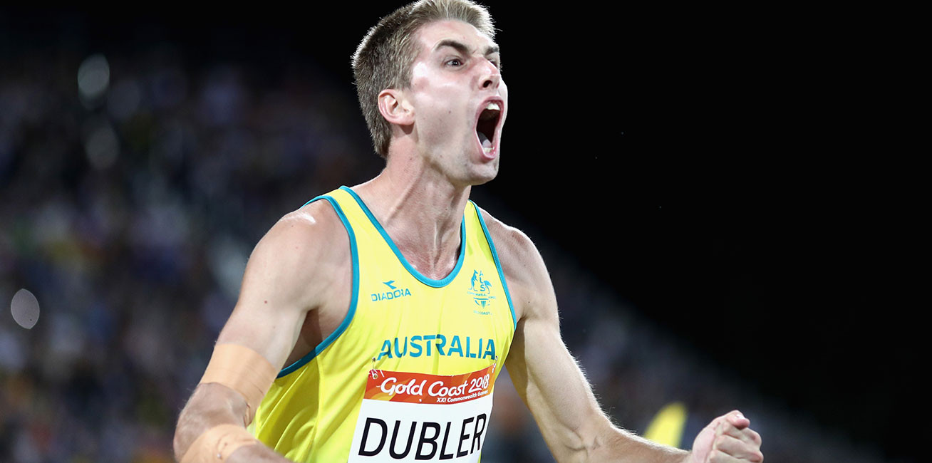 Cedric Dubler of Australia celebrates as he competes in the men's Decathlon Javelin at Carrara Stadium.