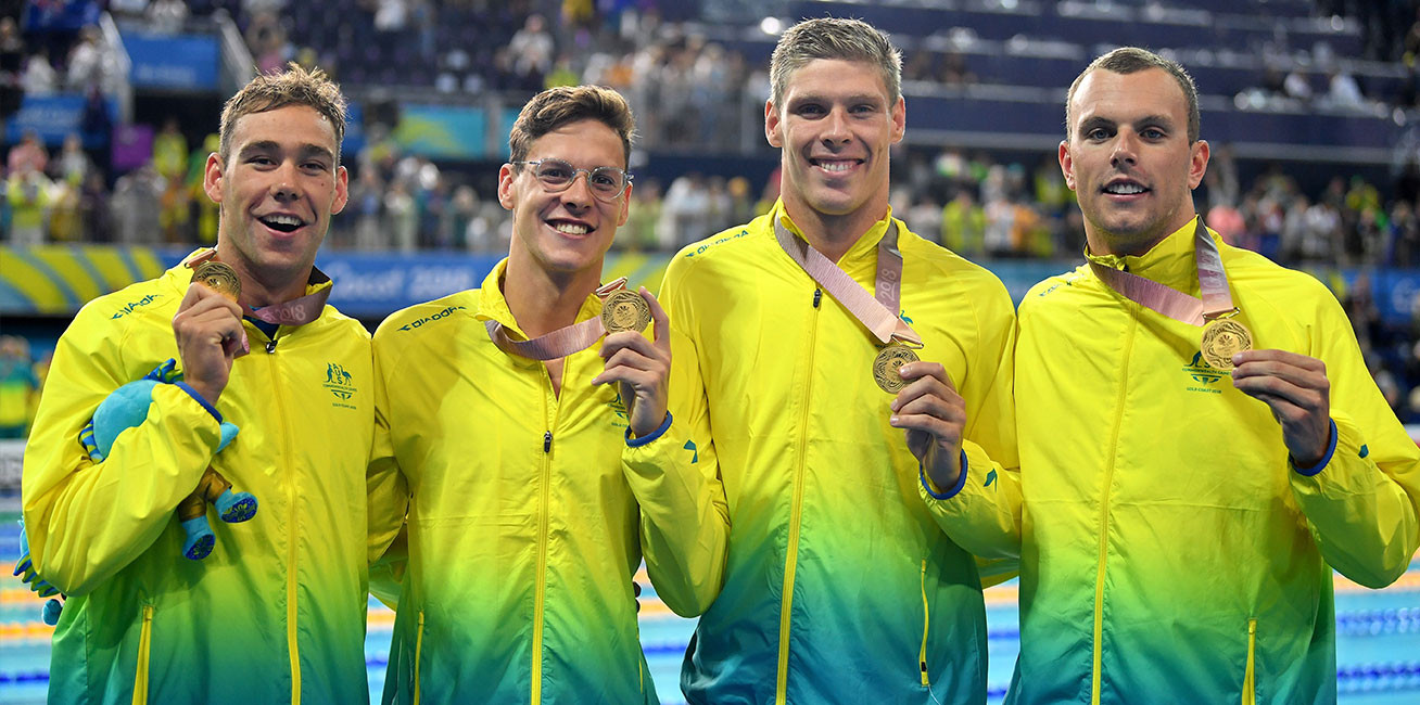 Men's 4x100m Medley Relay gold medalists Mitch Larkin, Jake Packard, Grant Irvine and Kyle Chalmers.