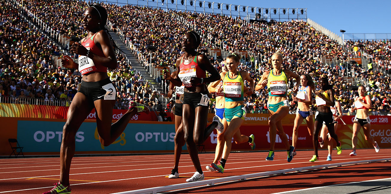 Hellen Obiri of Kenya leads the pack in the women's 5000 metre final.