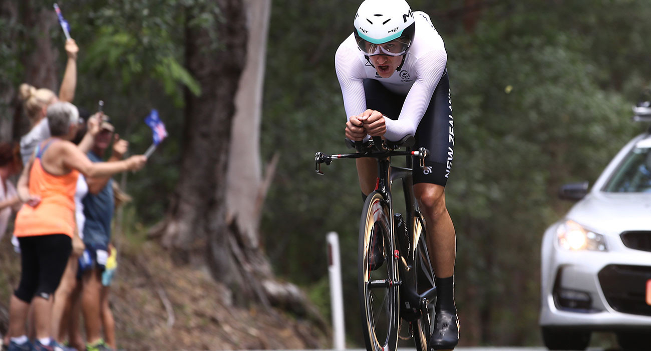 New Zealander James Oram competes during the Cycling Time Trial at Currumbin Beachfront.