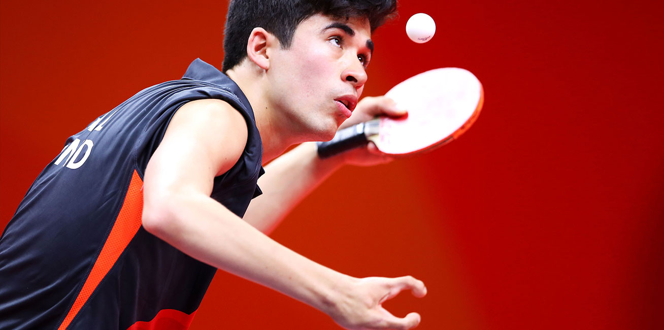 Kim Daybell of England competes during his men's TT6 10 singles Table Tennis match against Joshua Stacey of Wales at Oxenford Studios.