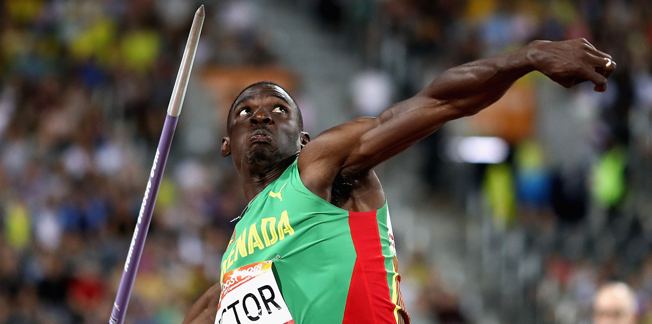 Lindon Victor of Grenada competes in men's Decathlon Javelin.