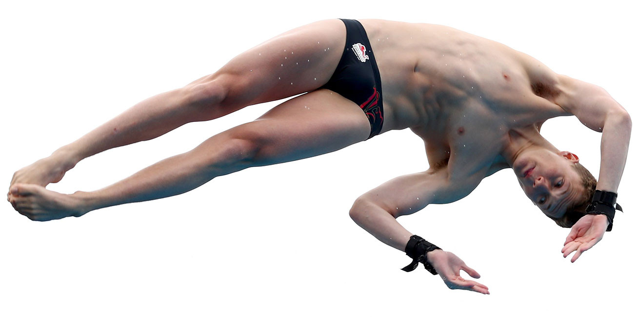 Matthew Lee of England competes in the mens 10m Platform preliminary.