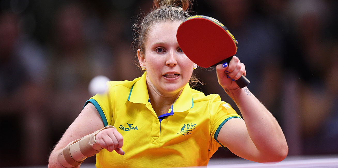 Melissa Tapper of Australia competes against Faith Obazuaye of Nigeria during the women's TT6 10 singles gold medal Table-Tennis.