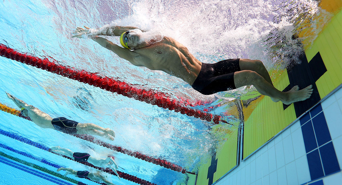 Mitch Larkin of Australia competes during the men's 200m Individual Medley - heat 3 at the Optus Aquatic Centre.