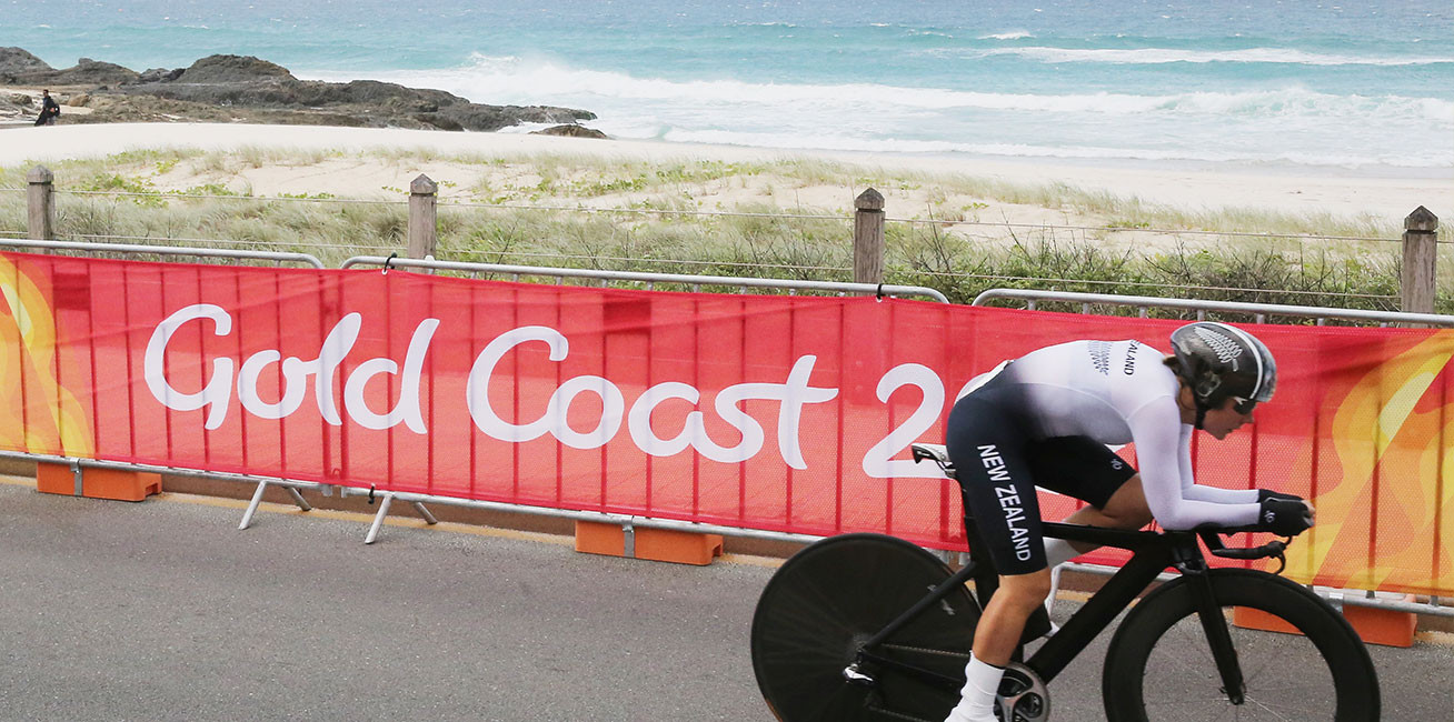 New Zealand's Linda Villumsen during the Cycling Time Trial at Currumbin Beachfront.
