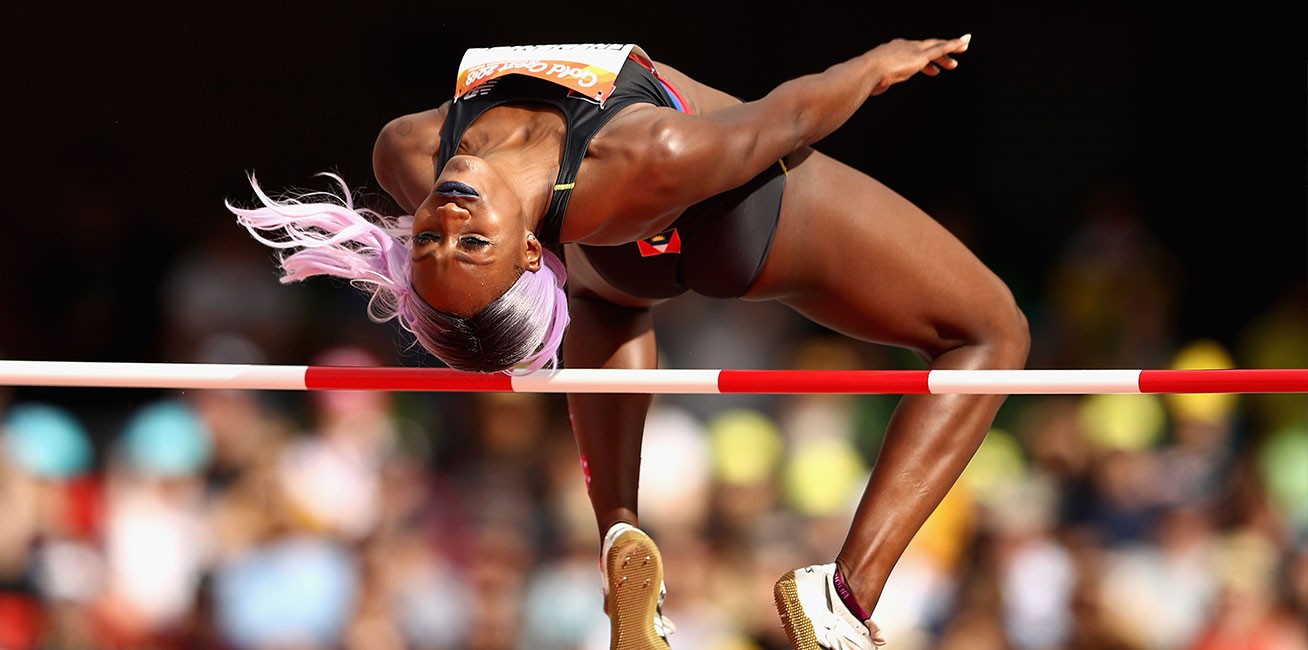 Priscilla Frederick of Antigua and Barbuda competes in the women's High Jump final.