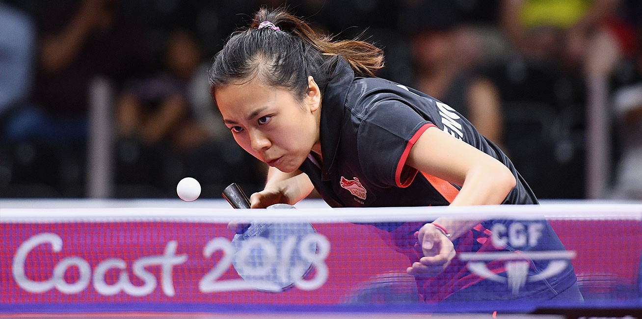 Tin Tin Ho of England competes during the mixed doubles semifinal Table Tennis match against India.