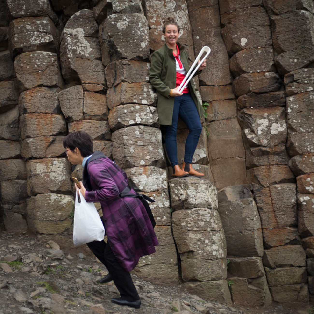 The Queen's Baton, carried by Commonwealth Games Northern Ireland's Beth Healy, photographed at the National Trust's Giant's Causeway, in North Coast, in Northern Ireland, on 29 August 2017.