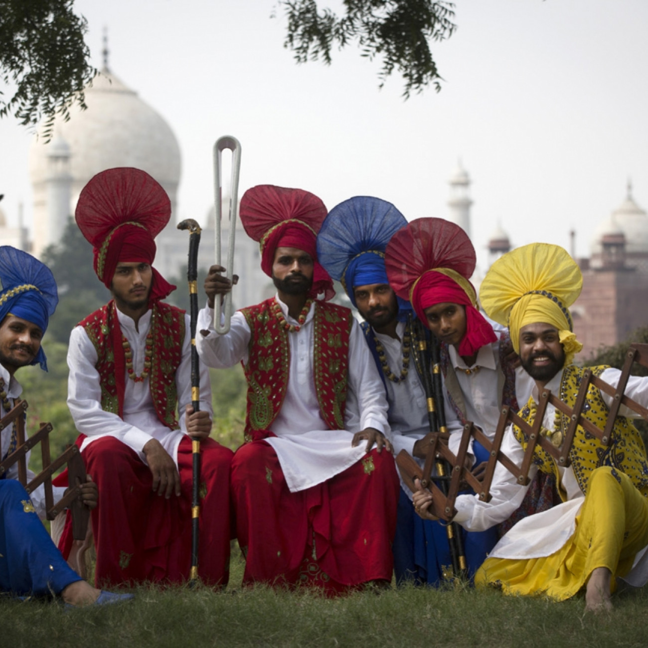 A band of musicians with the Baton in Agra with the Taj Mahal in the background