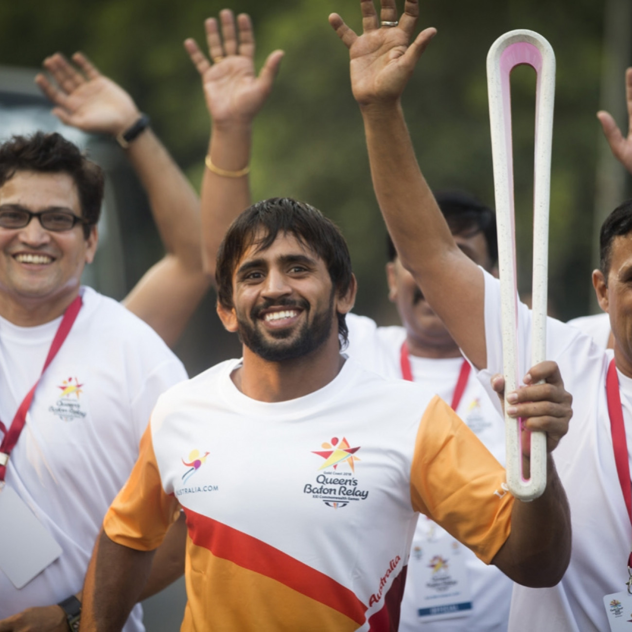Bajrang Kumar, Glasgow 2014 silver in wrestling 61kg carrying the Baton from the National Stadium around the India Gate