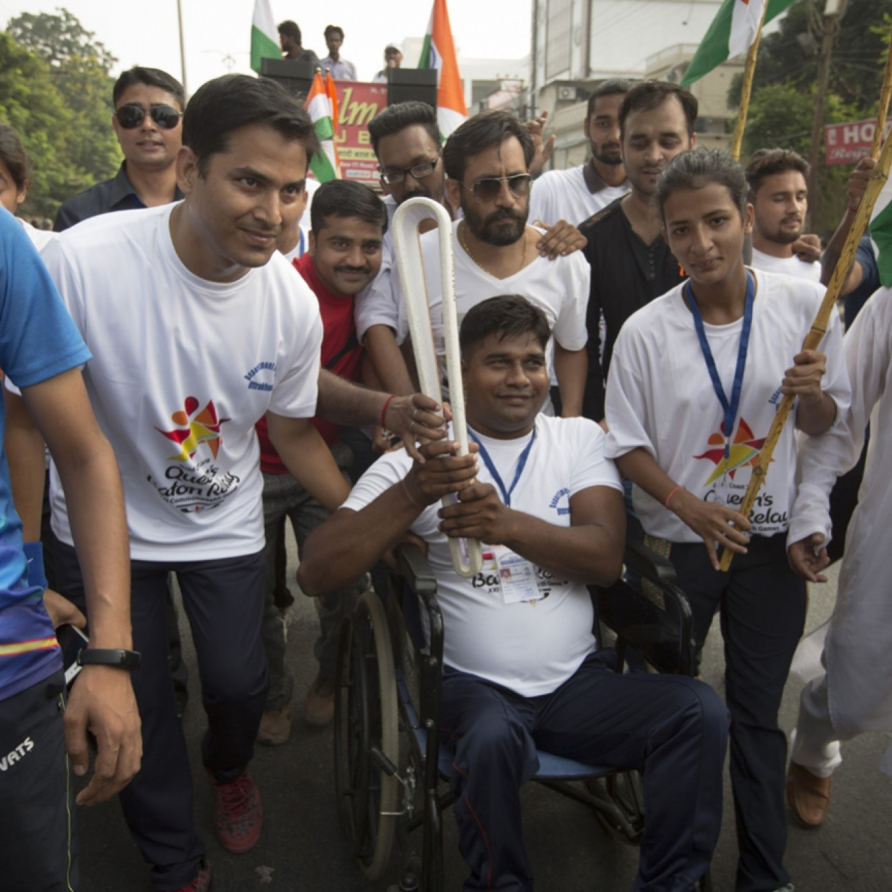 Batonbearers taking part in the Baton Relay through the streets of Haldwani