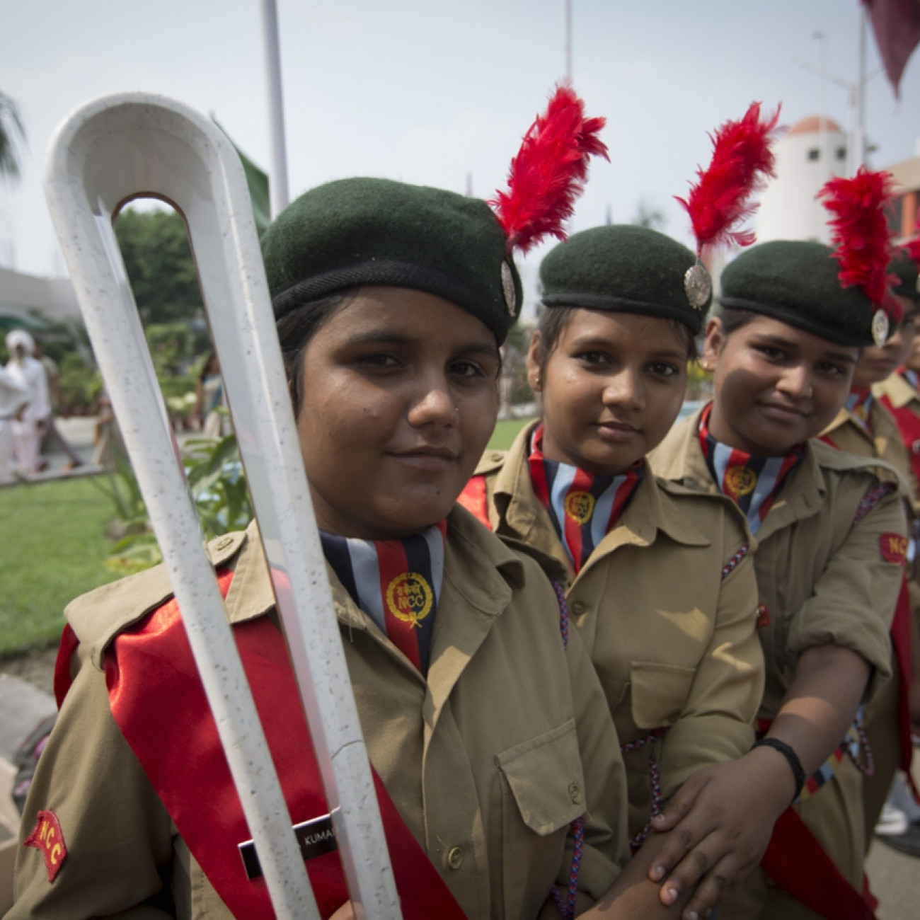 Cadets with the Baton at a welcoming ceremony in Rudrapur