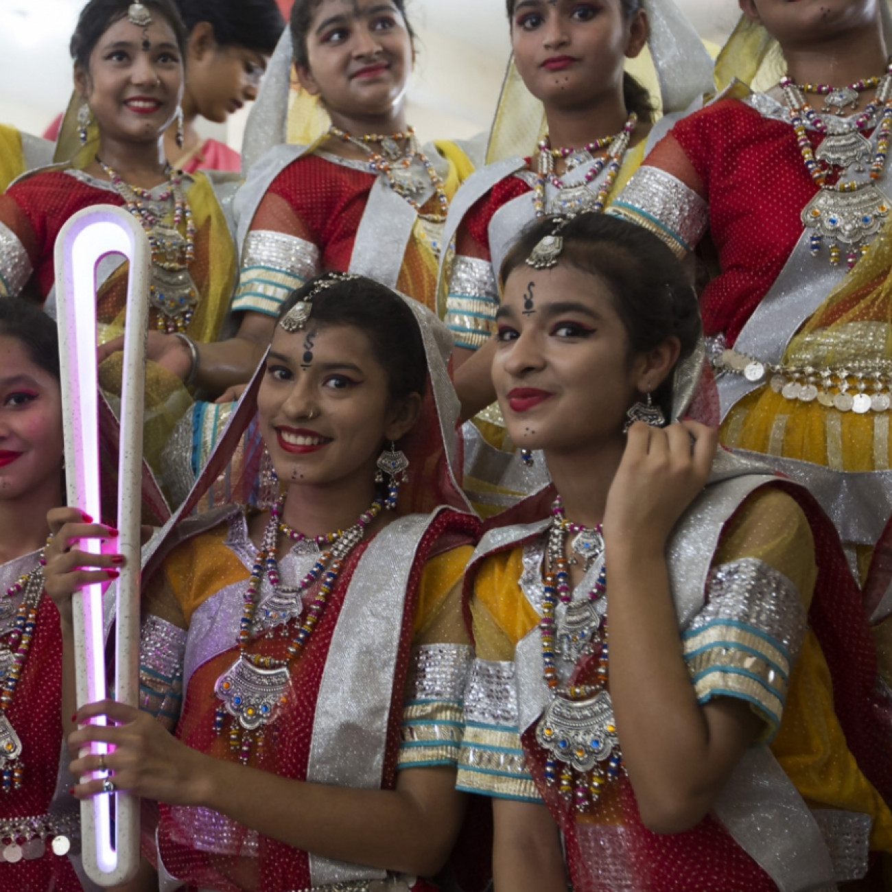 Dancers with the Baton at a welcoming ceremony in Rudrapur