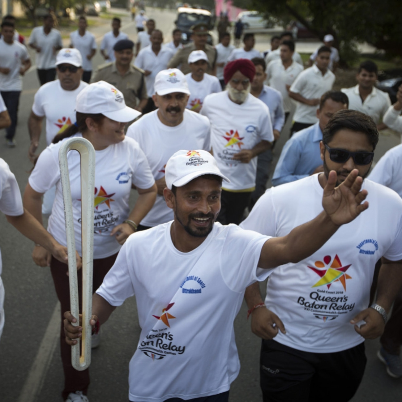 Local athletes with the Baton taking part in the Relay in Dehradun