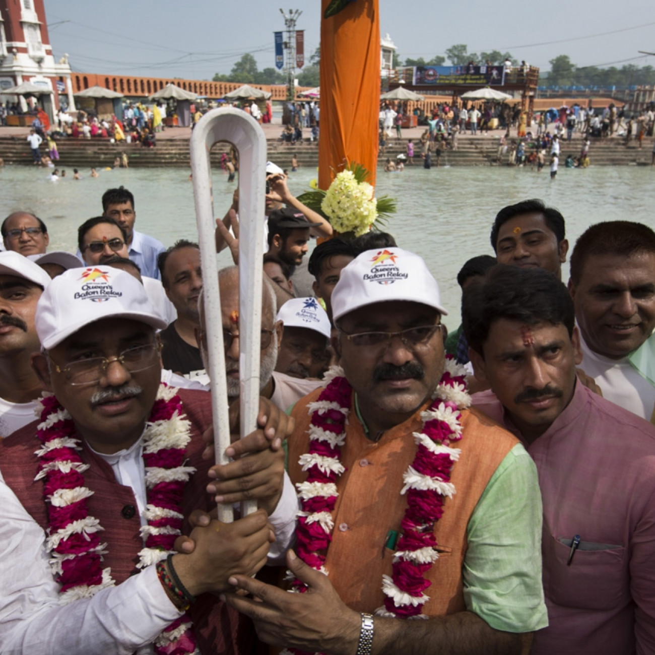 Local dignitaries with the Baton as it visited Haridwar on the banks of the sacred river Ganges