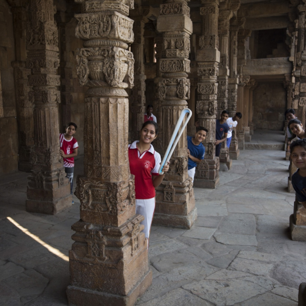 Pupils from Lal Bahadur Shastri School with the Baton at the Qutub complex World Heritage site
