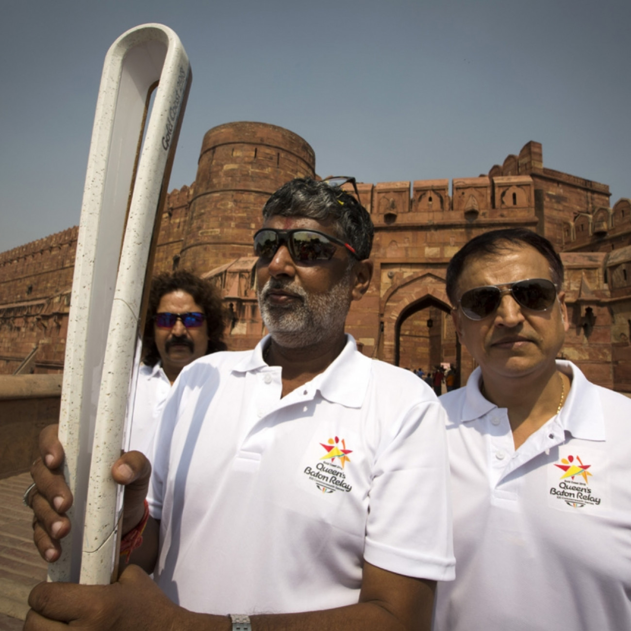 The Baton with Anandewhar Pandey (centre), secretary of the Uttar Pradesh Olympic Association, at Agra Fort