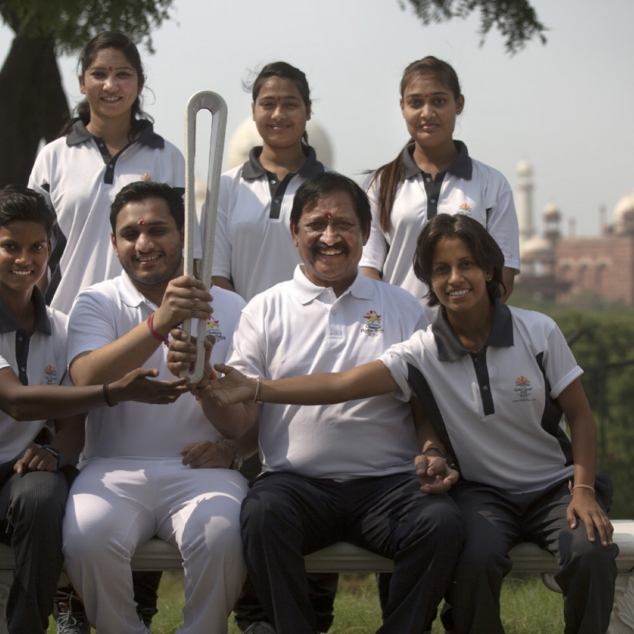 The Hon. Chetan Chauhan, Minister for Sport in Uttar Pradesh and a former captain of India's national cricket team, with local dignitaries and athletes in Agra, home of the Taj Mahal
