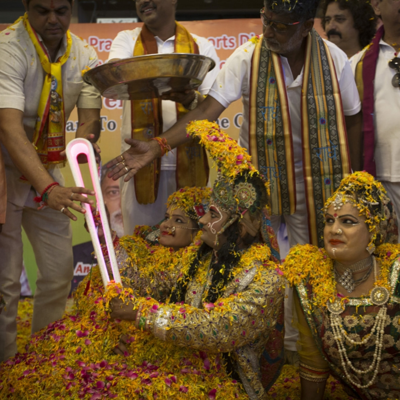 The Queen's Baton taking part in a special ceremony near the place of birth the Hindu deity Lord Krishna, in Mathura