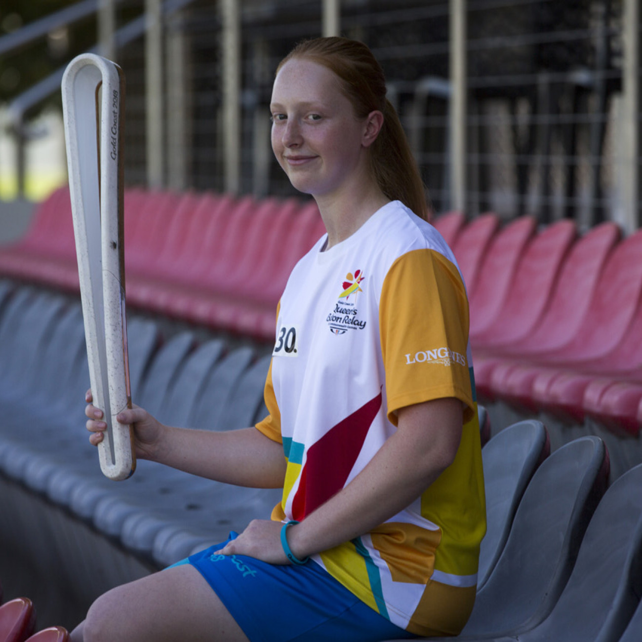 Batonbearer Claire Murray with the Queen's Baton