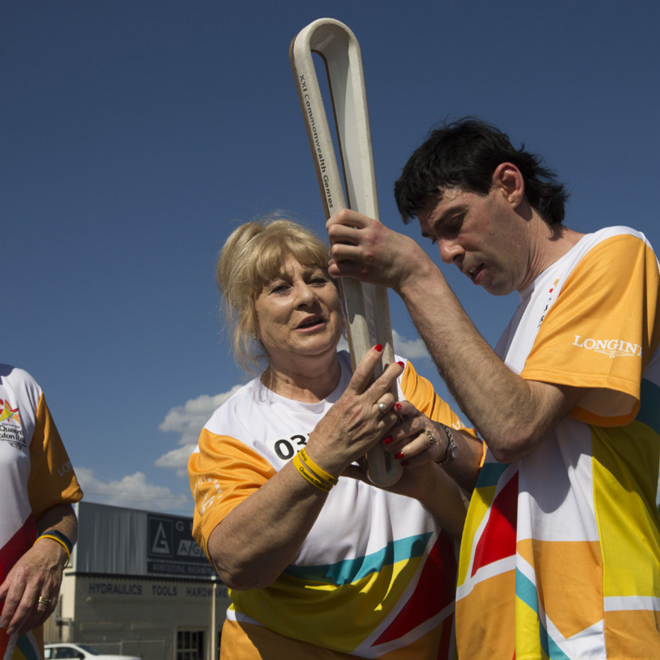 Batonbearers Anne Napoli and her son Patrick with the Baton