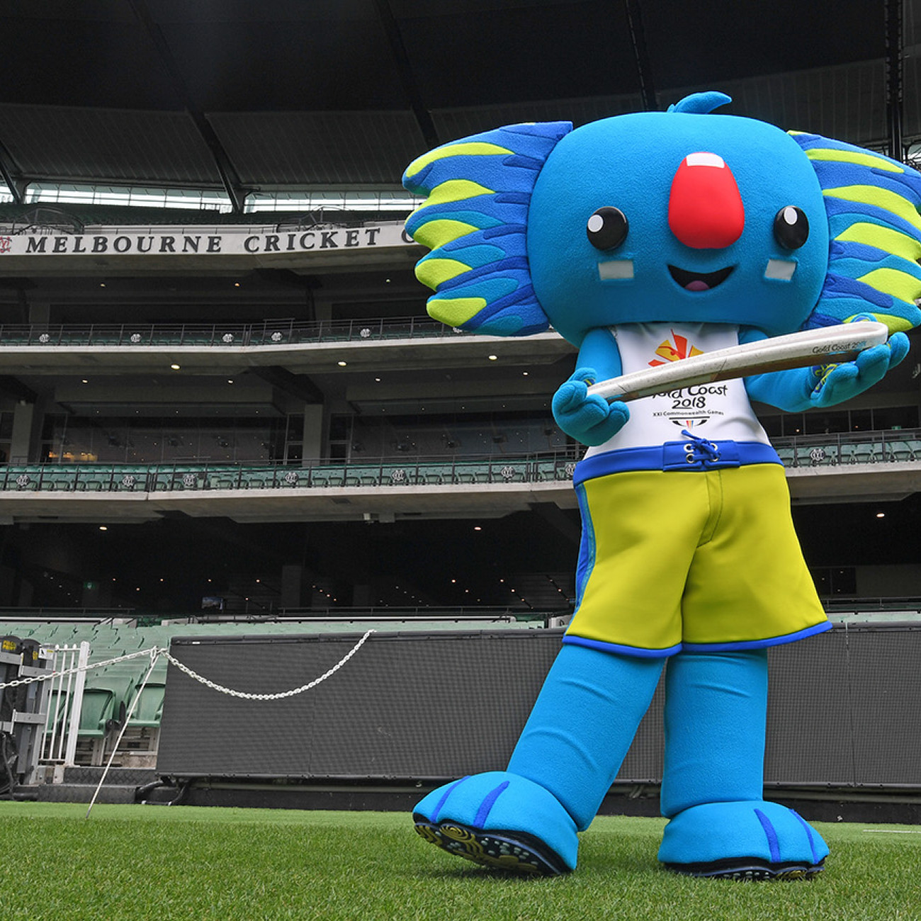 GC2018 mascot Borobi with the Queen's Baton at the MCG