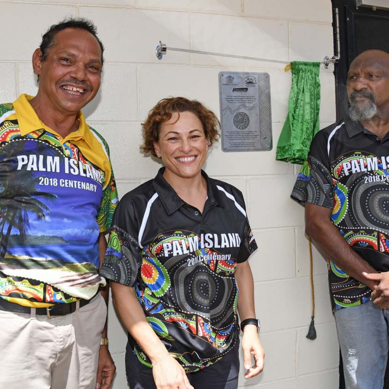 Palm Island Mayor Alf Lacey, Queensland acting Premier Jackie Trad and 1982 Commonwealth Games Gold Medalist in Boxing - Palm Islander Douglas Sam Jnr