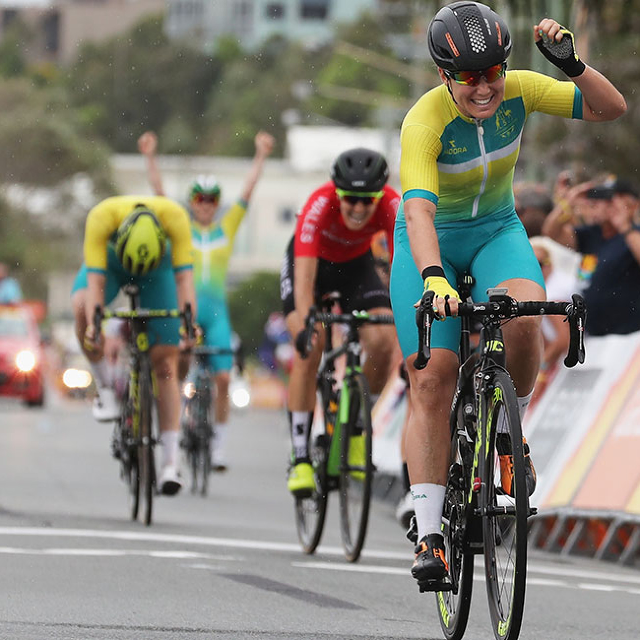 Australia's Chloe Hosking celebrates winning gold during the Road Race.