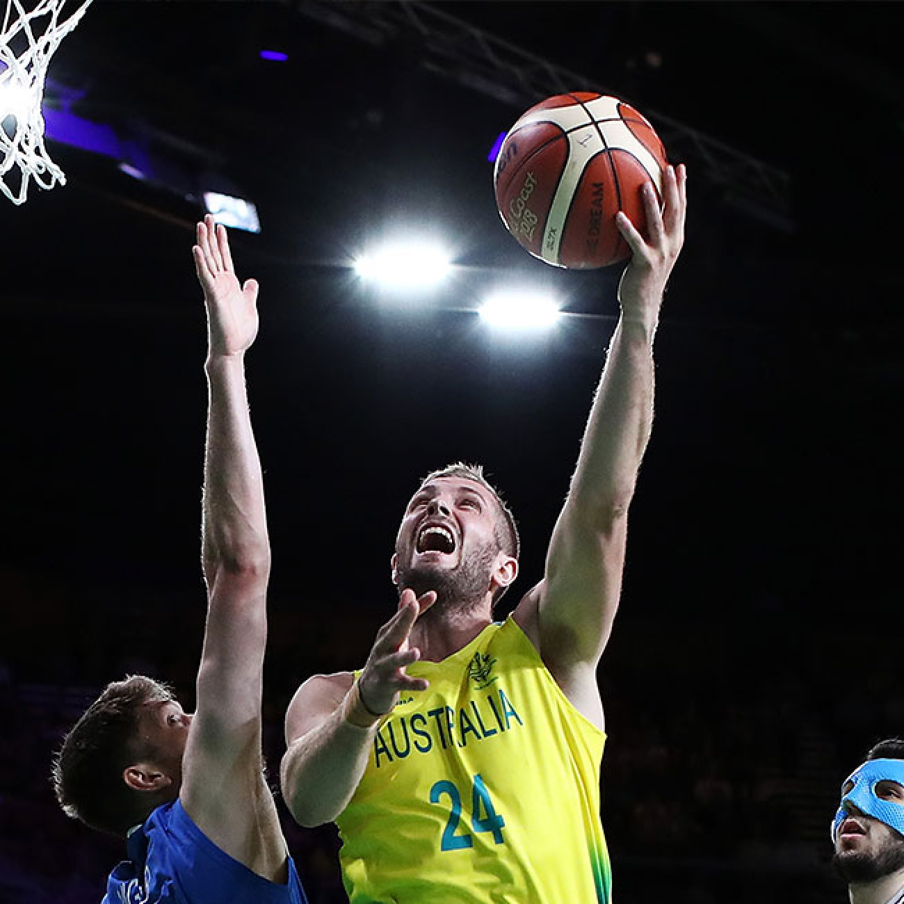 Jesse Wagstaff of Australia drives at the basket during the men's semifinal match between Australia and Scotland.