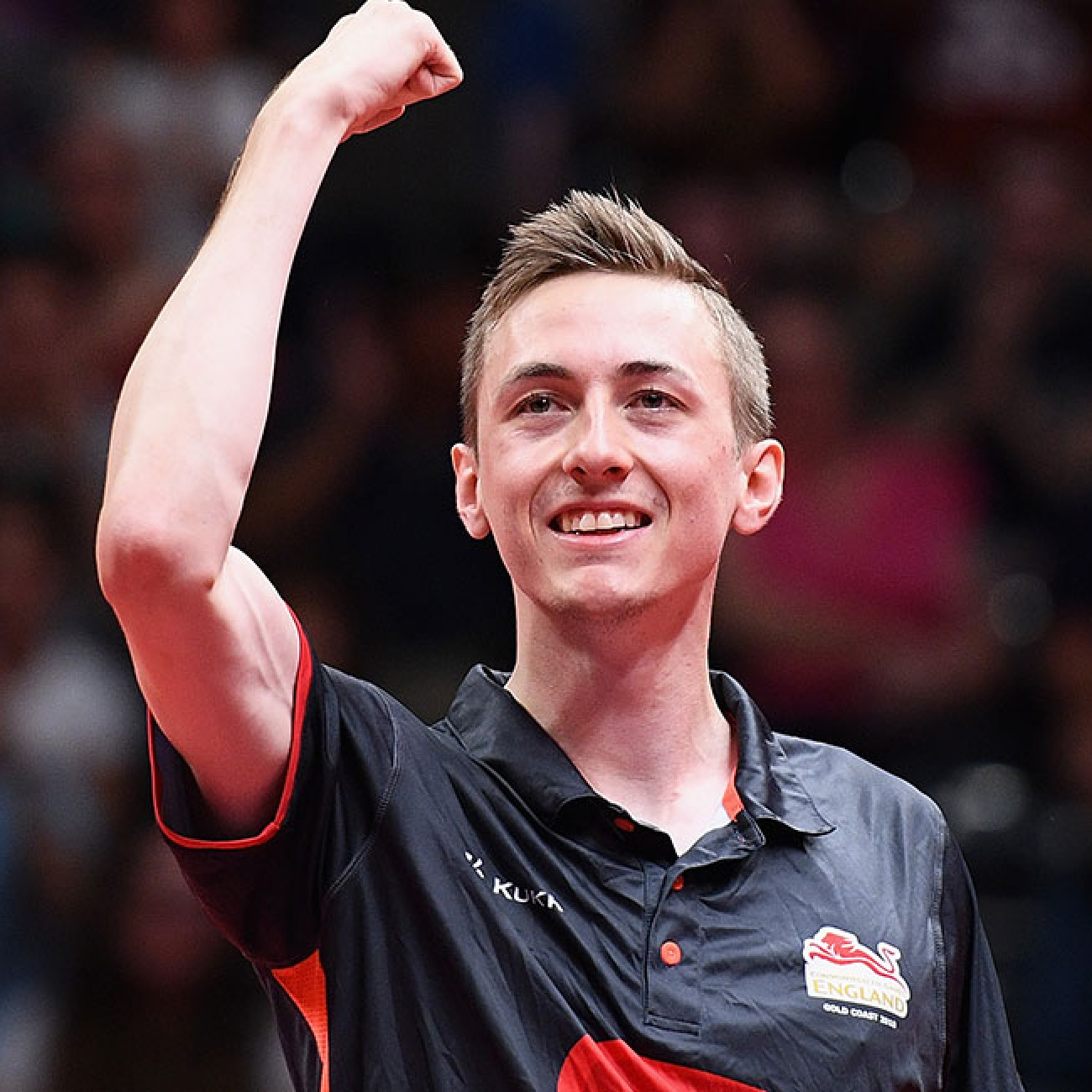 Liam Pitchford of England celebrates winning the mixed doubles semifinal Table Tennis match against India.