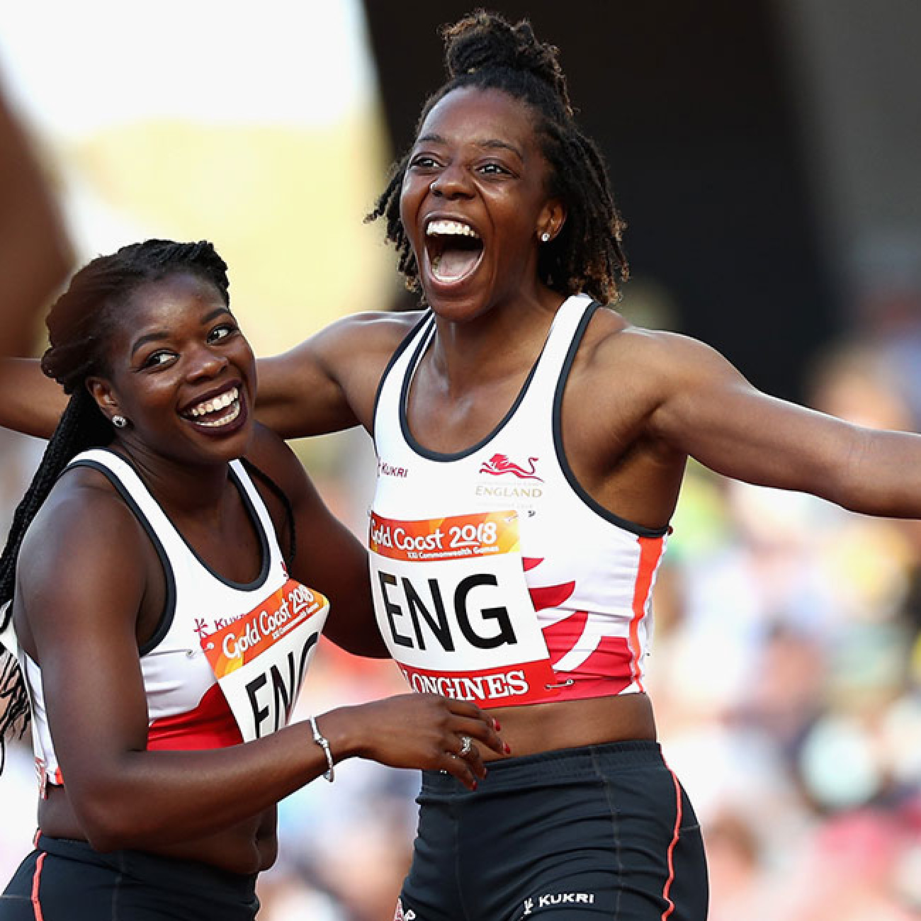 Lorraine Ugen and Asha Philip of England celebrate as they win gold in the women's 4x100m relay final.