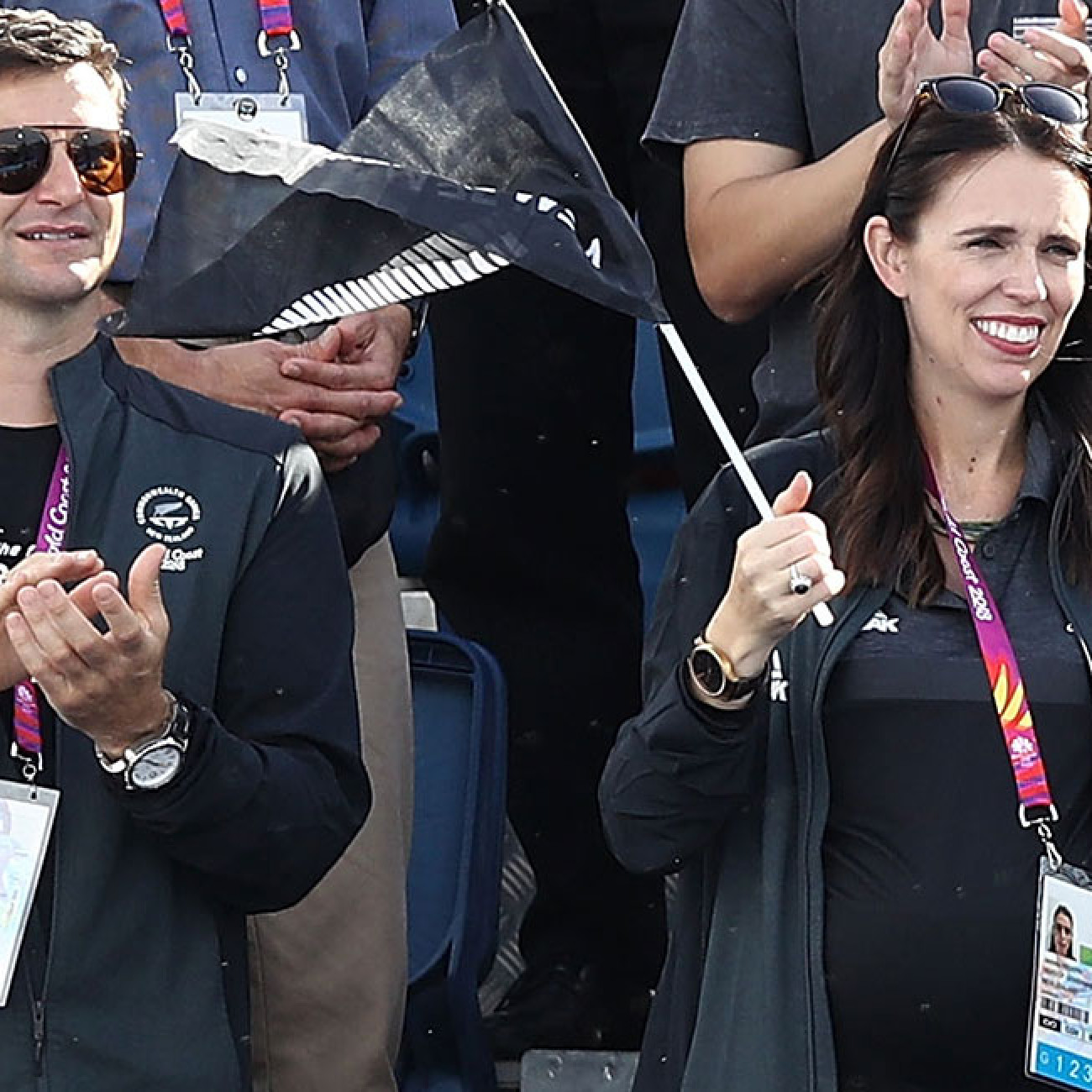 Prime Minister of New Zealand Jacinda Ardern and partner Clarke Gayford spotted at the women's gold medal match between Australia and New Zealand.